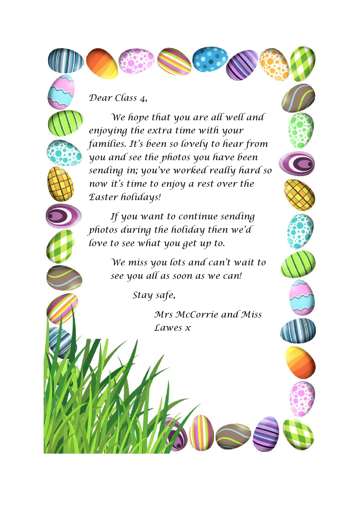 Letter to chn over Easter page0001